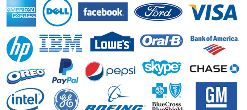 Grid of recognizable blue logos